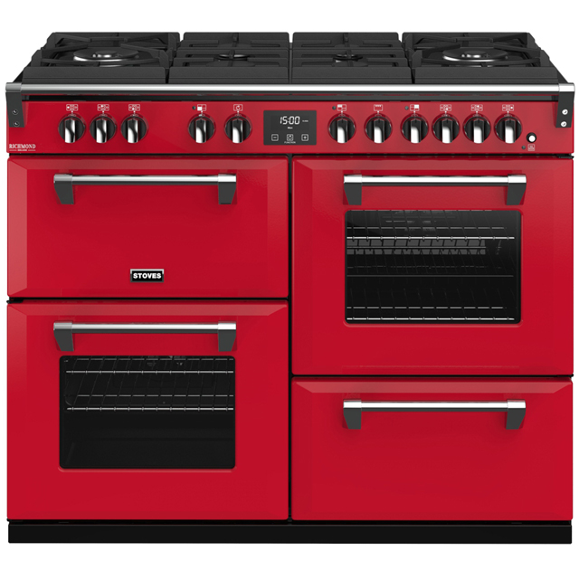 Stoves Colour Boutique Collection Richmond Deluxe S1100DF GTG CB 110cm Dual Fuel Range Cooker - Hot Jalapeno - A/A/A Rated - Richmond Deluxe S1100DF GTG CB_HJA - 1