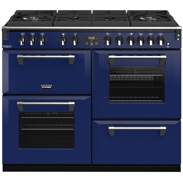 Stoves Colour Boutique Collection Richmond Deluxe S1100DF GTG CB 110cm Dual Fuel Range Cooker - Midnight Gaze - A/A/A Rated - Richmond Deluxe S1100DF GTG CB_MG - 1