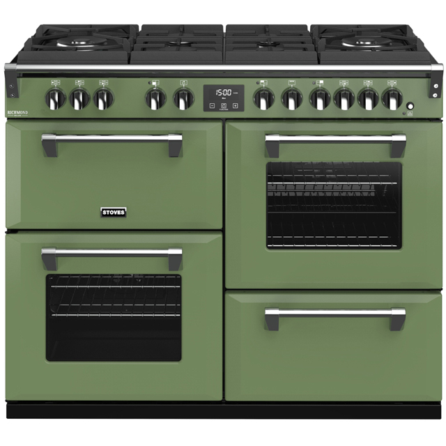 Stoves Colour Boutique Collection Richmond Deluxe S1100DF GTG CB 110cm Dual Fuel Range Cooker - Soho Green - A/A/A Rated - Richmond Deluxe S1100DF GTG CB_SGN - 1