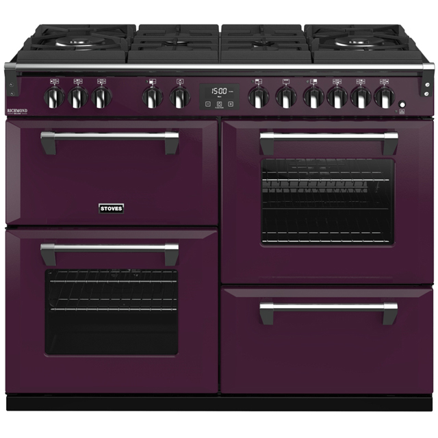 Stoves Colour Boutique Collection Richmond Deluxe S1100DF GTG CB 110cm Dual Fuel Range Cooker - Wild Berry - A/A/A Rated - Richmond Deluxe S1100DF GTG CB_WB - 1