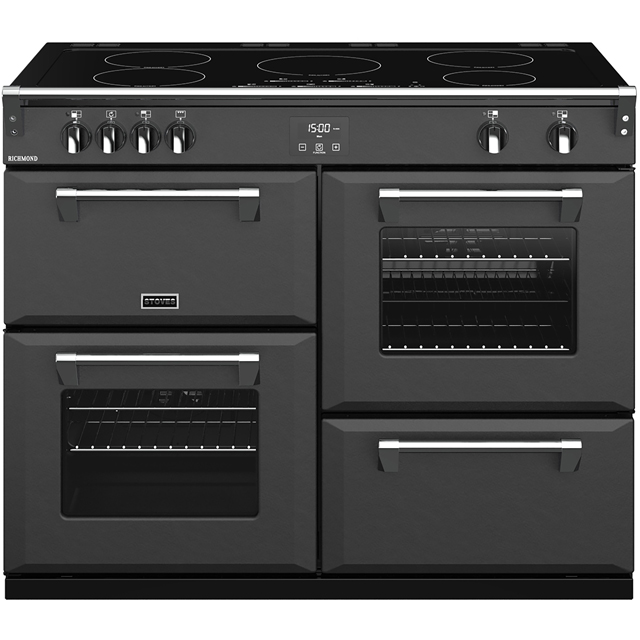 Stoves Colour Boutique Collection Richmond Deluxe S1100Ei CB 110cm Electric Range Cooker with Induction Hob - Anthracite - A/A/A Rated - Richmond Deluxe S1100Ei CB_AN - 1
