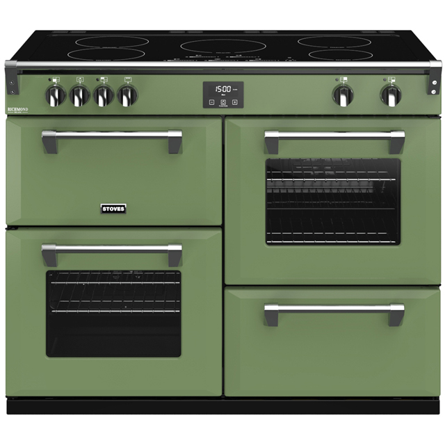 Stoves Colour Boutique Collection Richmond Deluxe S1100Ei CB 110cm Electric Range Cooker with Induction Hob - Soho Green - A/A/A Rated - Richmond Deluxe S1100Ei CB_SGN - 1