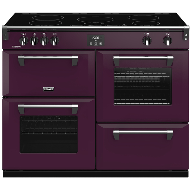 Stoves Colour Boutique Collection Richmond Deluxe S1100Ei CB 110cm Electric Range Cooker with Induction Hob - Wild Berry - A/A/A Rated - Richmond Deluxe S1100Ei CB_WB - 1