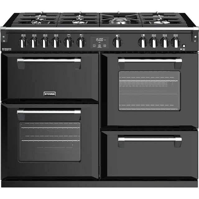 Stoves Richmond Deluxe S1100G 110cm Gas Range Cooker with Electric Grill - Black - A/A/A Rated - Richmond Deluxe S1100G_BK - 1