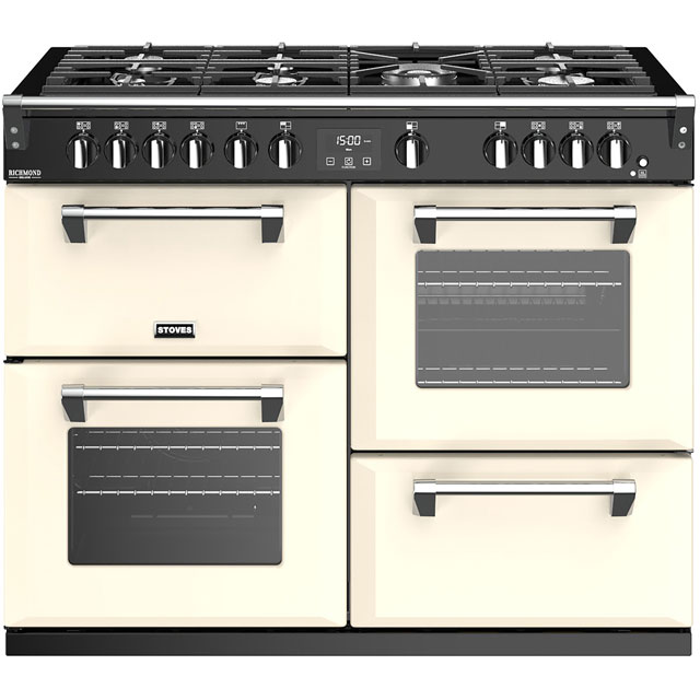 Stoves Richmond Deluxe S1100G 110cm Gas Range Cooker with Electric Grill - Cream - A/A/A Rated - Richmond Deluxe S1100G_CR - 1
