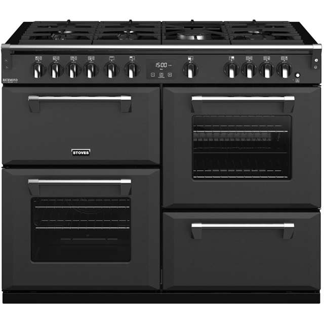 Stoves Colour Boutique Collection Richmond Deluxe S1100G CB 110cm Gas Range Cooker with Electric Grill - Anthracite - A/A/A Rated