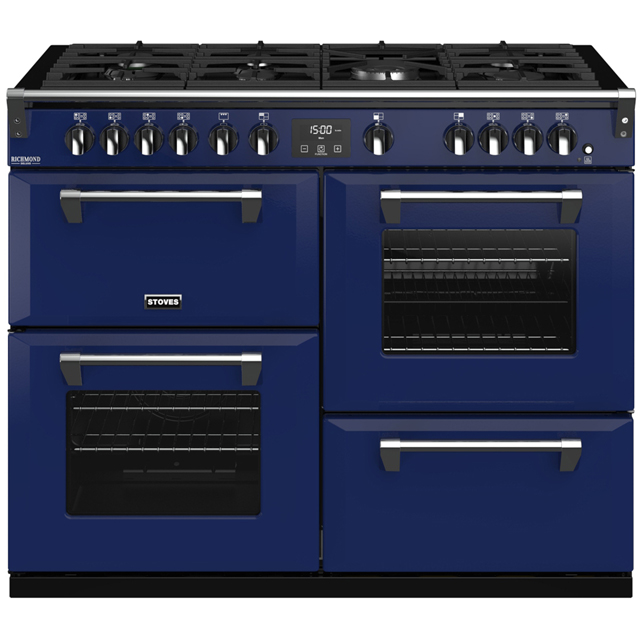 Stoves Colour Boutique Collection Richmond Deluxe S1100G CB 110cm Gas Range Cooker with Electric Grill - Midnight Gaze - A/A/A Rated - Richmond Deluxe S1100G CB_MG - 1