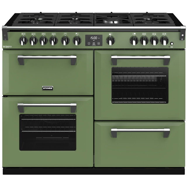 Stoves Colour Boutique Collection Richmond Deluxe S1100G CB 110cm Gas Range Cooker with Electric Grill - Soho Green - A/A/A Rated - Richmond Deluxe S1100G CB_SGN - 1