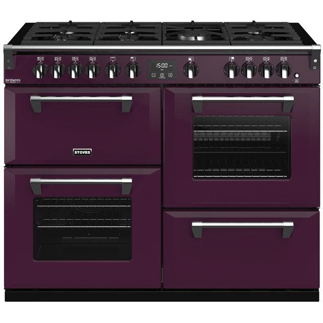 Stoves Colour Boutique Collection Richmond Deluxe S1100G CB 110cm Gas Range Cooker with Electric Grill - Wild Berry - A/A/A Rated - Richmond Deluxe S1100G CB_WB - 1