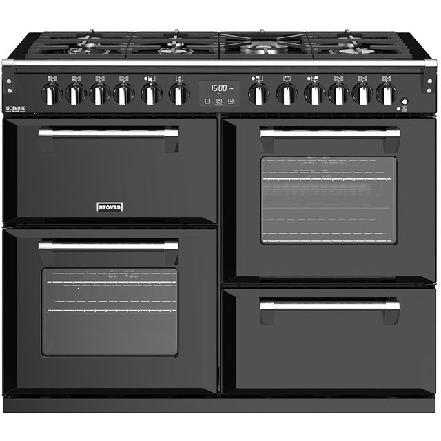 Stoves Richmond Deluxe S1100GTG 110cm Dual Fuel Range Cooker - Black - A/A/A Rated