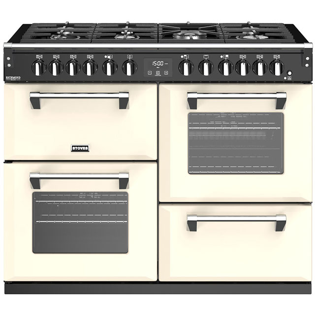 Stoves Richmond Deluxe S1100GTG 110cm Dual Fuel Range Cooker - Cream - A/A/A Rated