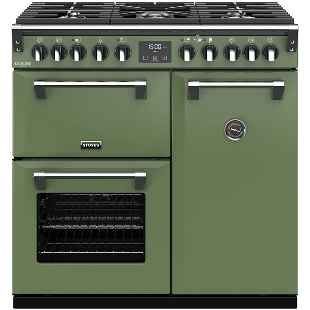 Stoves Colour Boutique Collection Richmond Deluxe S900DF CB 90cm Dual Fuel Range Cooker - Soho Green - A/A/A Rated - Richmond Deluxe S900DF CB_SGN - 1