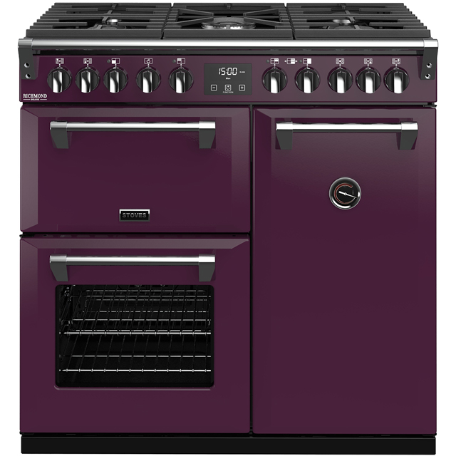 Stoves Colour Boutique Collection Richmond Deluxe S900DF CB 90cm Dual Fuel Range Cooker - Wild Berry - A/A/A Rated - Richmond Deluxe S900DF CB_WB - 1