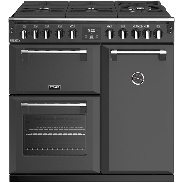 Stoves Colour Boutique Collection Richmond Deluxe S900DF GTG CB 90cm Dual Fuel Range Cooker - Anthracite - A/A/A Rated - Richmond Deluxe S900DF GTG CB_AN - 1