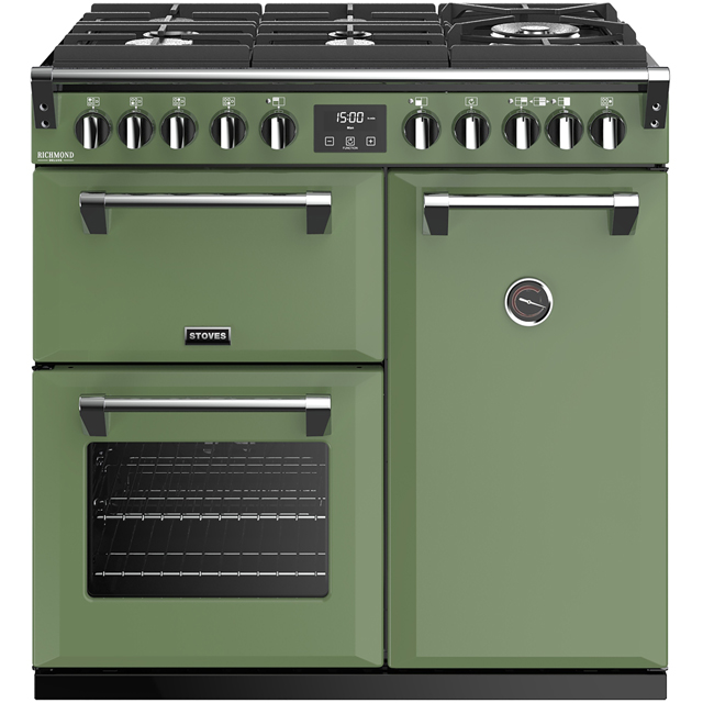 Stoves Colour Boutique Collection Richmond Deluxe S900DF GTG CB 90cm Dual Fuel Range Cooker - Soho Green - A/A/A Rated - Richmond Deluxe S900DF GTG CB_SGN - 1