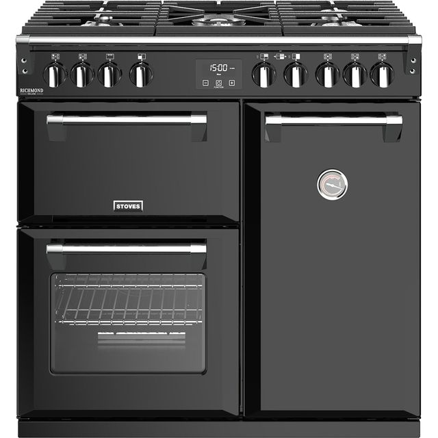 Stoves Richmond Deluxe S900G 90cm Gas Range Cooker - Black - A/A Rated - Richmond Deluxe S900G_BK - 1