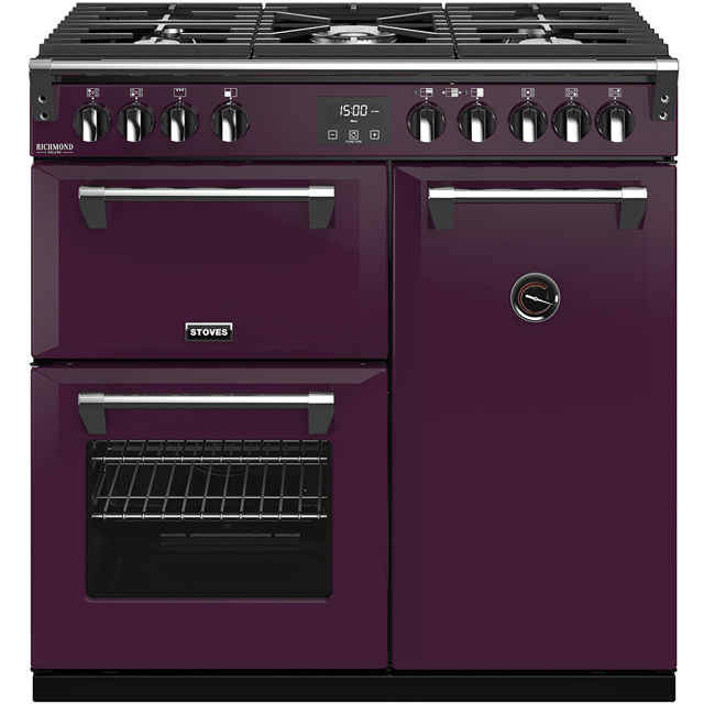 Stoves Colour Boutique Collection Richmond Deluxe S900G CB 90cm Gas Range Cooker - Wild Berry - A/A/A Rated - Richmond Deluxe S900G CB_WB - 1