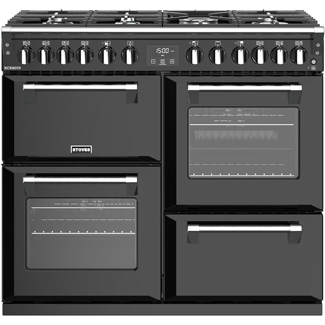 Stoves Richmond S1000DF 100cm Dual Fuel Range Cooker - Black - A/A/A Rated - Richmond S1000DF_BK - 1