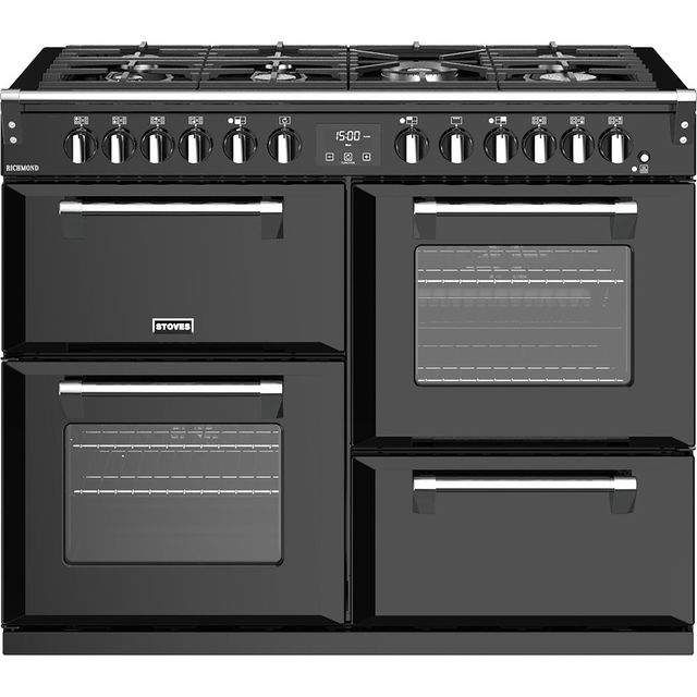 Stoves Richmond S1100DF 110cm Dual Fuel Range Cooker - Black - A/A/A Rated - Richmond S1100DF_BK - 1