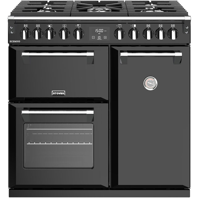 Stoves Richmond S900DF 90cm Dual Fuel Range Cooker - Black - A/A/A Rated - Richmond S900DF_BK - 1