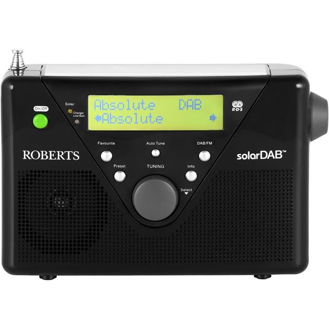 Roberts Radio Solar Portable SolarDAB2bk DAB Digital Radio with FM Tuner - Black