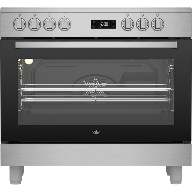 Beko GF17300GXNS 90cm Electric Range Cooker with Ceramic Hob - Stainless Steel - A Rated