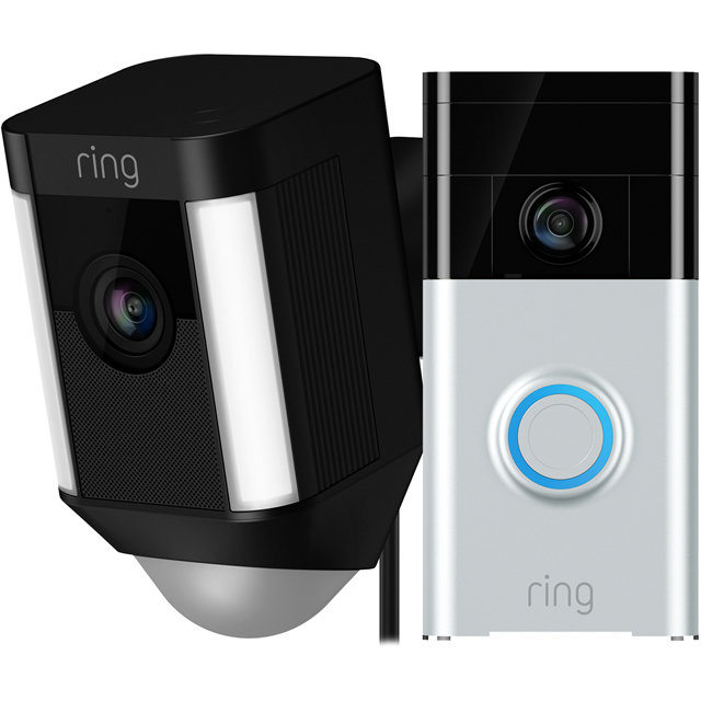 Ring Spotlight Cam Wired Network Surveillance Cam Includes Video Doorbell -Full HD 1080p - Black - RSPTBLK-V1 - 1