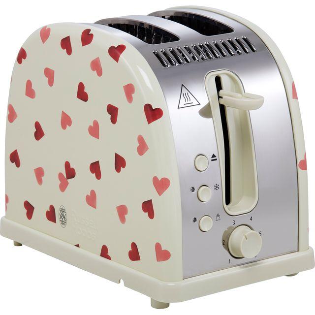 Russell Hobbs Emma Bridgewater Pink Hearts Design 28340 2 Slice Toaster - Cream