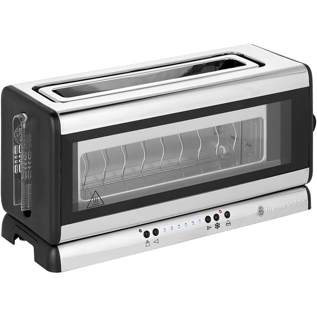 russell hobbs glass line toaster in silver black small appliances. Black Bedroom Furniture Sets. Home Design Ideas