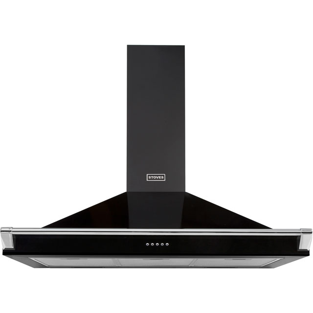 Stoves S1000 RICH CHIM RAIL 100 cm Chimney Cooker Hood - Black - A Rated - S1000 RICH CHIM RAIL_BK - 1