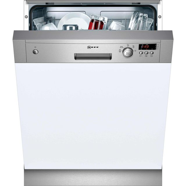 NEFF N30 S41E50N1GB Semi Integrated Standard Dishwasher - Stainless Steel Control Panel with Fixed Door Fixing Kit - A+ Rated - S41E50N1GB_SS - 1