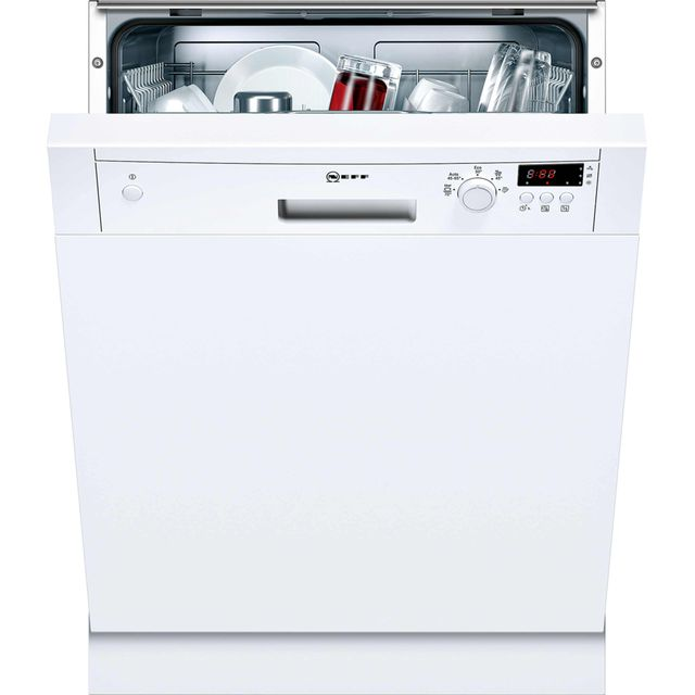 NEFF N30 Semi Integrated Standard Dishwasher - White with Fixed Door Fixing Kit - A+ Rated
