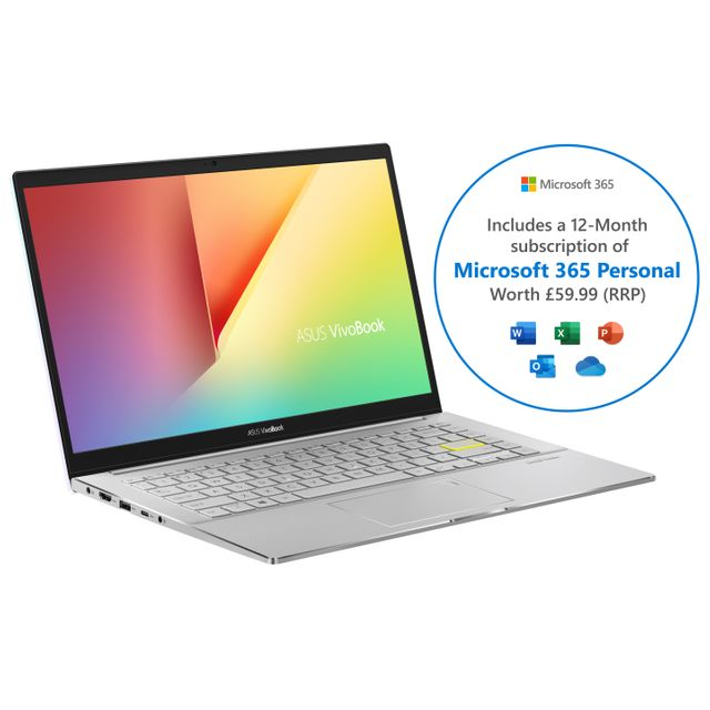 "Asus Vivobook S433FA 14"" Laptop Includes Microsoft 365 Personal 12-month subscription with 1TB Cloud Storage - White"
