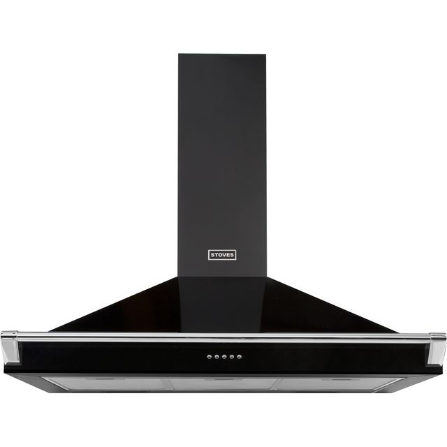 Stoves S900 RICH CHIM RAIL 90 cm Chimney Cooker Hood - Black - A Rated - S900 RICH CHIM RAIL_BK - 1