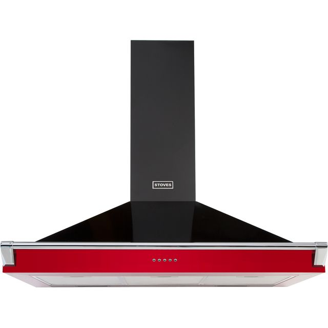 Stoves S900 RICH CHIM RAIL 90 cm Chimney Cooker Hood - Hot Jalapeno - A Rated - S900 RICH CHIM RAIL_HJA - 1