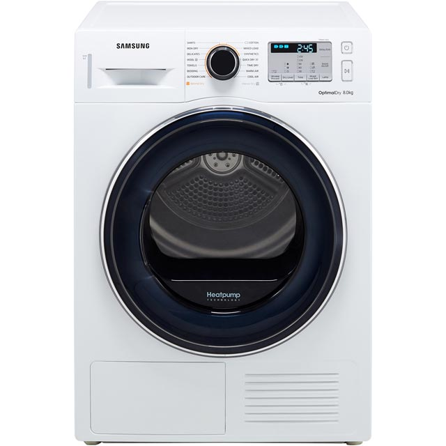 Samsung DV80M50133W Heat Pump Tumble Dryer - White - DV80M50133W_WH - 1