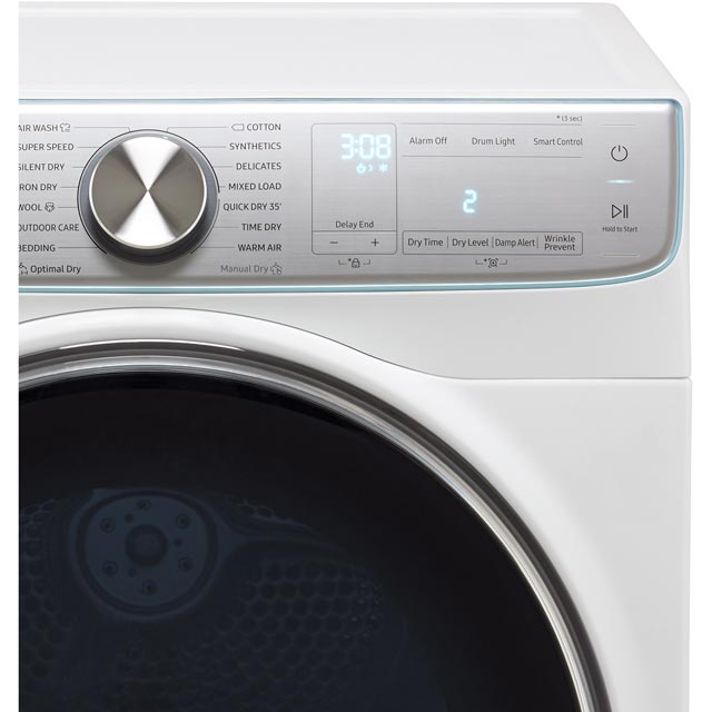 Samsung DV90N8289AW Heat Pump Tumble Dryer - White - DV90N8289AW_WH - 3