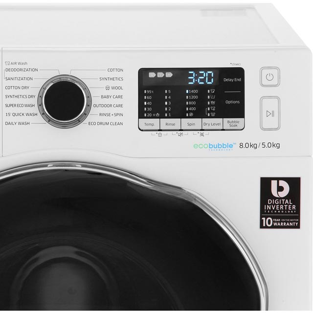 Samsung ecobubble™ WD80J5A10AW Washer Dryer - White - WD80J5A10AW_WH - 5