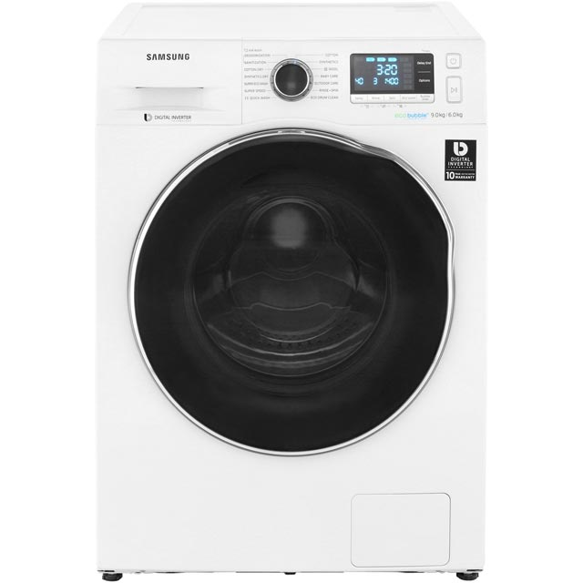 Samsung ecobubble™ WD90J6A10AW 9Kg / 6Kg Washer Dryer with 1400 rpm - White - A Rated - WD90J6A10AW_WH - 1