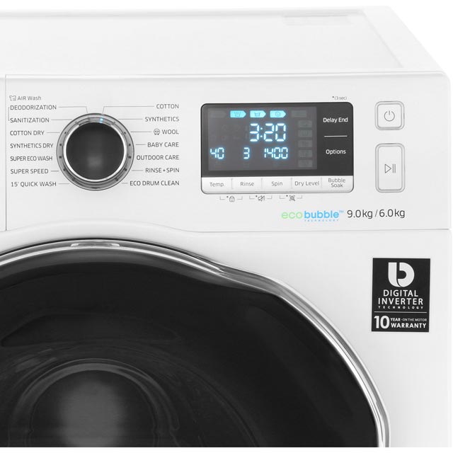 Samsung ecobubble™ WD90J6A10AW 9Kg / 6Kg Washer Dryer - White - WD90J6A10AW_WH - 5