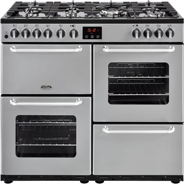 Belling 100cm Dual Fuel Range Cooker - Silver - A/A Rated