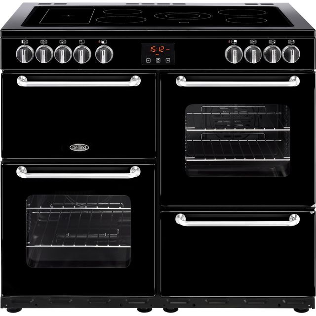 Belling SANDRINGHAM100E 100cm Electric Range Cooker with Ceramic Hob - Black - A/A Rated - SANDRINGHAM100E_BK - 1