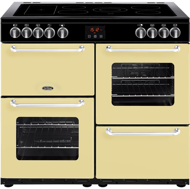 Belling SANDRINGHAM100E 100cm Electric Range Cooker with Ceramic Hob - Cream - A/A Rated - SANDRINGHAM100E_CR - 1