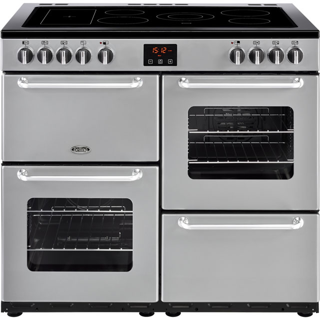 Belling SANDRINGHAM100E 100cm Electric Range Cooker with Ceramic Hob - Silver - A/A Rated - SANDRINGHAM100E_SI - 1