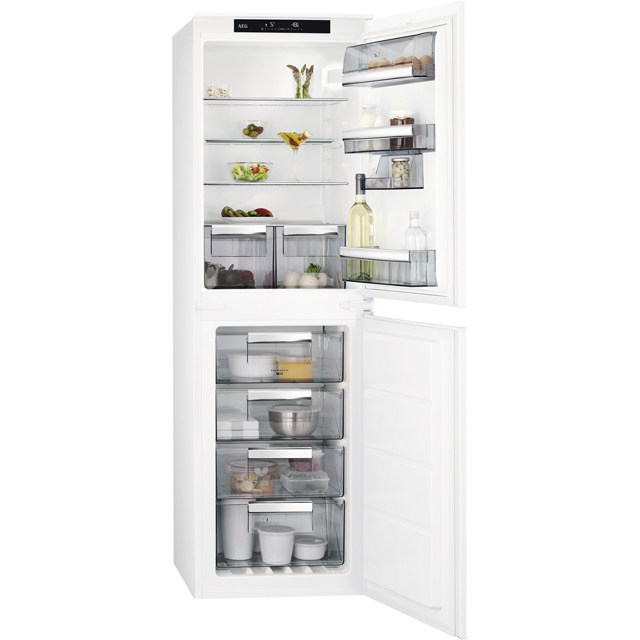 AEG SCE8181VNS Integrated 50/50 Frost Free Fridge Freezer with Sliding Door Fixing Kit - White - A+ Rated - SCE8181VNS_WH - 1