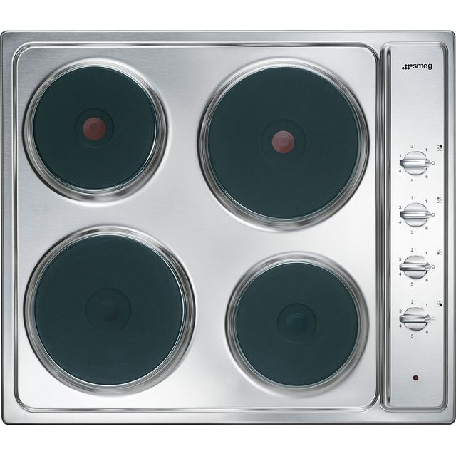 SMEG Cucina SE435S Electric Solid Plate Hob – Stainless Steel, Stainless Steel