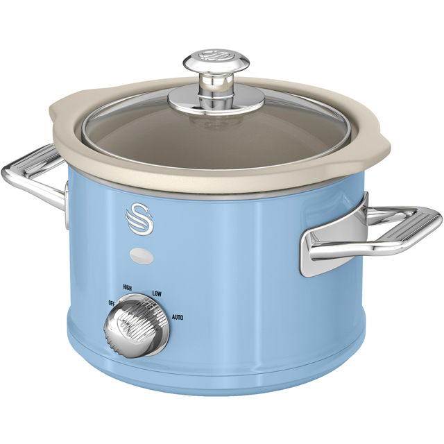 Swan Retro SF17011BLN 1.5 Litre Slow Cooker - Blue - SF17011BLN_BL - 1