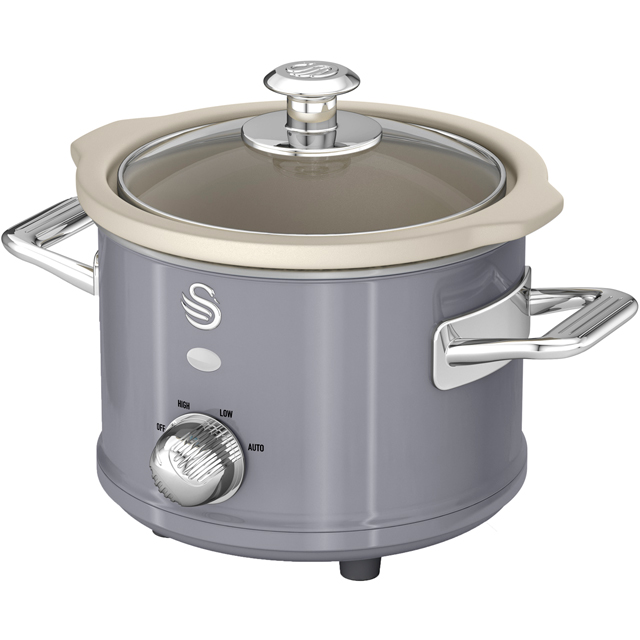 Swan Retro SF17011GRN 1.5 Litre Slow Cooker - Grey - SF17011GRN_GY - 1