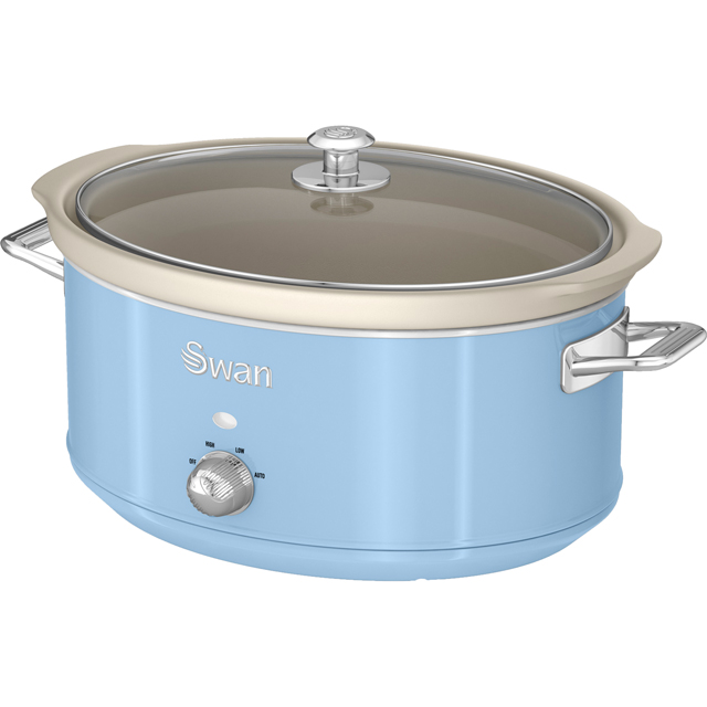 Swan Retro SF17031BLN 6.5 Litre Slow Cooker - Blue - SF17031BLN_BL - 1