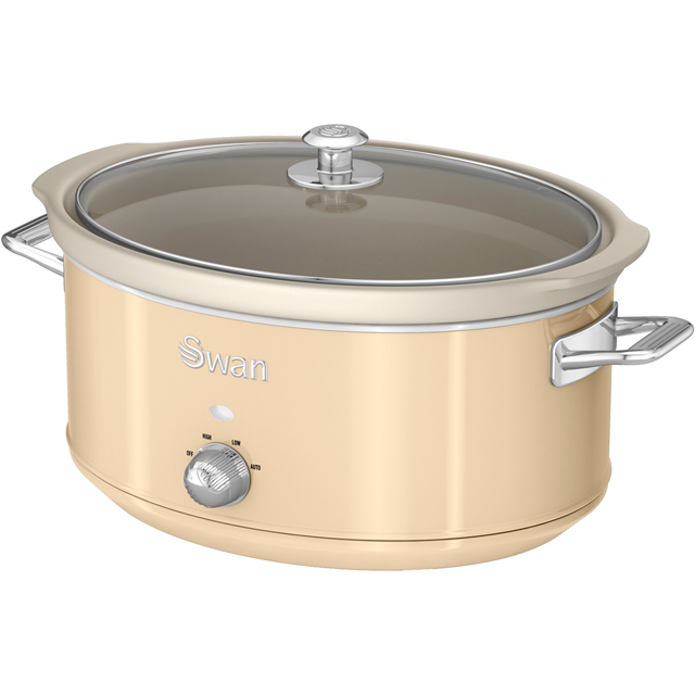 Swan Retro SF17031CN 6.5 Litre Slow Cooker - Cream - SF17031CN_CR - 1